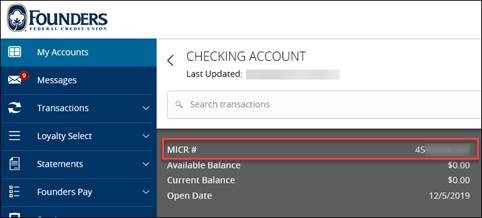 Checking account transaction history MICR number highlighted